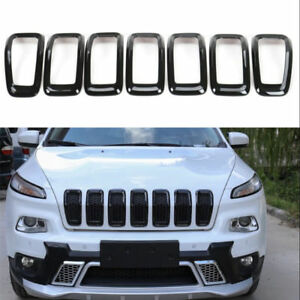 For 2014 18 Jeep Cherokee Front Grille Inserts Mesh Grill Trim Accessories black