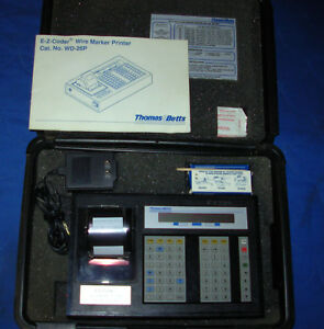 Thomas Betts E z coder Wd 25p Wire Marker Printer With Power Supply Manual