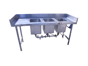 Stainless Steel Triple 3 Compartment Industrial Commercial Sink 70 x24 x40