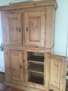 Irish Antique Pine Armoire Cupboard Storage Original Hardware