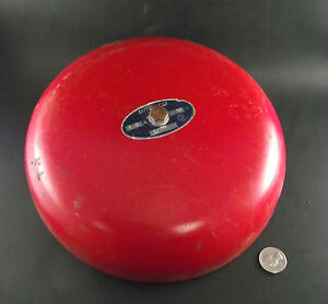 Large Working Vintage Red Red Unelco Fire Alarm Bell Industrial School Salvage