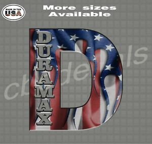 Duramax D American Flag Decal Diesel Truck Decals Car Window Stickers Yeti Cup 1