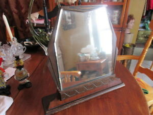 32 Antique Wooden Dressing Table Mirror Beveled Glass 15 25 In Tall 12 52 In