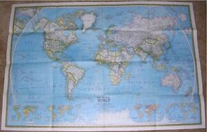 National Geographic Supplement Map Of The World November 1975 Physical Political