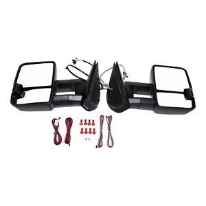 Pair For 07 14 Chevy Silverado Sierra Tow Power Heated Led Signal Towing Mirrors