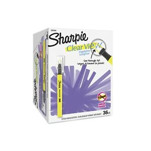 Sharpie Clear View Highlighter Stick Chisel Tip Assorted Fluorescent 36 Co