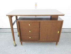 Vtg Mid Century Modern Bar Credenza Swing Out Swivel Buffet Table Small Space