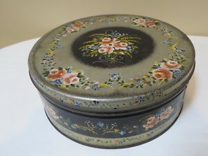 Antique Decorative Round Black And Gold Tole Tin With Hand Painted Flowers