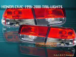 96 00 Honda Civic Tail Lights Red Clear 2dr Coupe 98 99