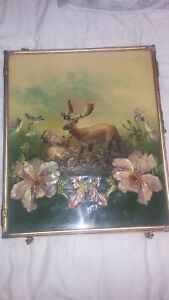 Antique Brass Tri Fold Mirror Very Rare Embossed Elk Red Stag Scenery