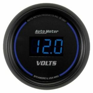 Autometer 6993 Gauge Voltmeter 2 1 16 18v Digital Black Dial W Blue Led