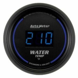 Autometer 6937 Gauge Water Temp 2 1 16 340 f Digital Black Dial W blue Led