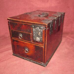 Antique Japanese Tansu Type Artist Calligraphy Box