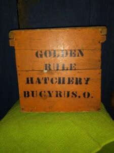 Antique Country Painted Bucyrus Ohio Wooden Egg Crate Americana