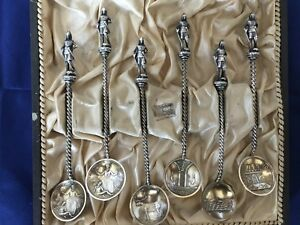 6 Antique Marius Hammer 1800 S 830 Silver Complete Twisted Demitasse Spoons Gold