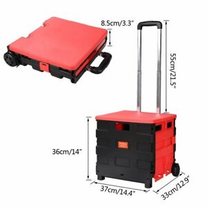 Binxin Folding Two wheeled Hand Cart Plastic Hefty Heavy Carry Utility 55lb With