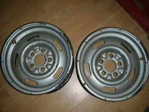 Chevy 15 X 7 Rally Wheels 2 Drilled For Slicks Drag Racing Use