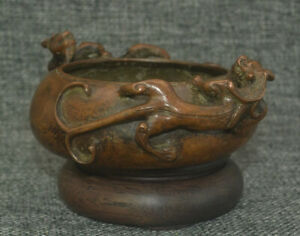 B04 Spectacular China Double Dragon Old Censer Wubangzuo Bronze Incense Burner