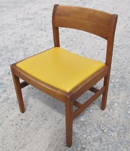 Gunlocke Mid Century Modern Walnut Yellow Seat Chair Danish Office