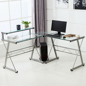 Suncoo L shape Corner Computer Desk Pc Glass Laptop Table Office Workstation