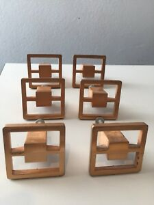 Vintage Drawer Pulls Metal Very Rare Mcm Set Of 6 Deco Regency Modern