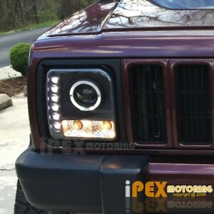 1997 2001 Jeep Cherokee Halo Projector Led Black Headlights W Signal Lights