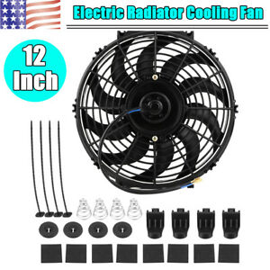 Slim 12inch Engine Bay Electric Cooling Radiator Fan Flush Mount Push Pull 12v