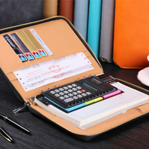 Leather Zipper Padfolio Portfolio Organizer Writing Replace Notebook Black