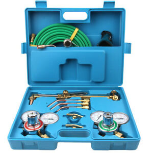 Gas Welding Cutting Tool Kit Acetylene Oxygen Torch Regulator W 15 hose Blue