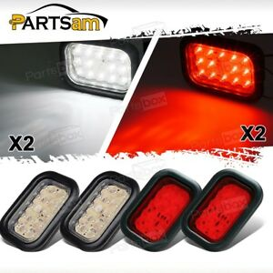 4pcs 5 x3 Red white 14 Led Stop Turn Tail Brake Reverse Light W flush Mount 12v