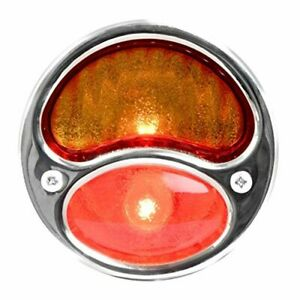 6v Stainless Steel Duolamp Tail Light W Amber red Glass Lens And License Light