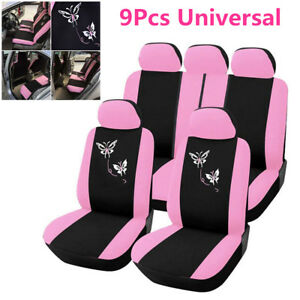 Pink Car Seat Covers Butterfly Embroidery Seat Interior Accessories Car Styling