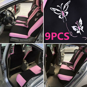 Universal Pink Car Suv Seat Covers For Women Butterfly Embroidery Embroidery
