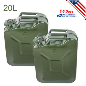 2x 5gal 20l Portable Jerry Can Gas Fuel Can Emergency Backup Gas Tank Army Green