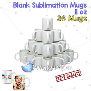 36x White Dye Sublimation Coffee Mug Cup Dishwasher Proof 11oz