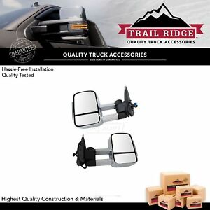 Trail Ridge Towing Mirror Heated Signal Upgrade Power Folding Chrome Pair For Gm