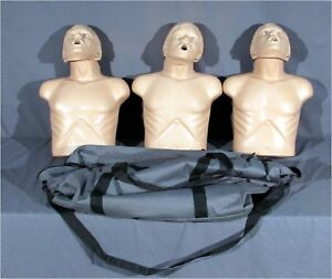 Lot Of 3 Simulaids Sani man Cpr Training first Aid Manikins W Case