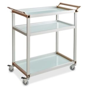 Safco Mobile Beverage Cart 3 Shelf 4 Caster Tempered Glass 35 8969sl