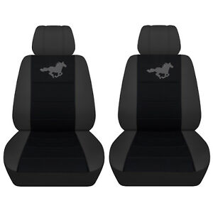 2015 2017 Ford Mustang Charcoal Black Seat Covers Horse On Insert Abf