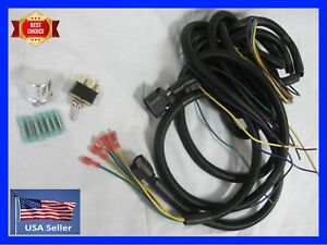 Universal Head Light Wiring Harness Flasher Headlight Switch More