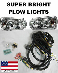 Universal Halogen Snow Plow Lights Super Bright Light Kit Wiring Harness Oem