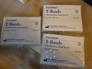 3 X Pulpdent T Bands Btss n 100 Pk Stainless Steel Dental Bands Straight Narrow