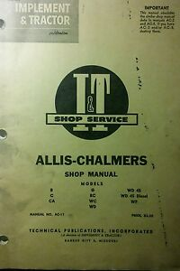 Allis chalmers B C Ca G Rc Wc Wd Wd 45 Wf Diesel Tractor I T Service Manual