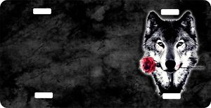 Personalized Custom License Plate Auto Car Tag Wolf And Rose