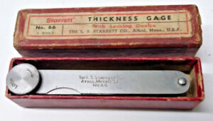 Starrett No 66 Thickness Gage With Locking Device In Box Machinist Tool