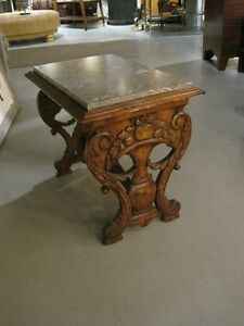 Antique Italian Carved Walnut Marble Top Tressle Side Table C1870
