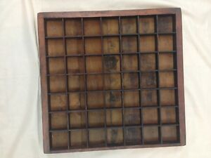 Antique Vintage Hand Made 16 X 16 Wood 49 Compartment Shadow Display Box