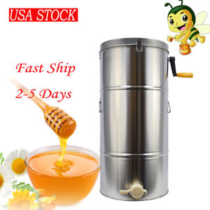 usa Ship 2 Deep Frame Bee Honey Extractor Honeycomb Drum Beekeeping Equipment