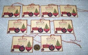 Christmas Primitive Red Tractor Farm Country Tree Linen Cardstock Gift Hang Tags