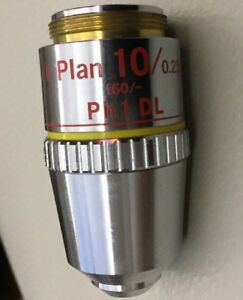 Nikon Microscope Phase Objective E Plan 10x Ph1 Dl For Labophot Optiphot Nice